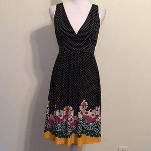 Lola Jersey Knit Polka Dot Deep V Mini Fit & Flare